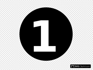 White Numeral  1  Centered Inside Black Circle