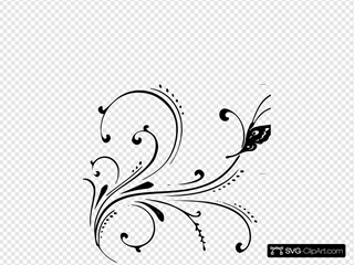 Black Butterfly Flourish SVG Clipart