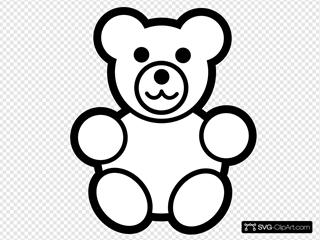 Circle Teddy Bear Black And White