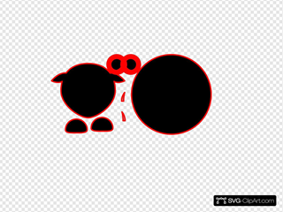 Sheep Body Parts Black Body Red Outline