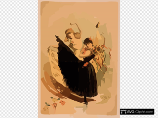 [two Women Dancing, One In Yellow Dress And One In Black Dress With Tambourine]