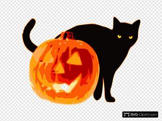 Halloween Cat With Pumpkin SVG Clipart