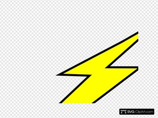 Straight Black Outline Flash Bolt