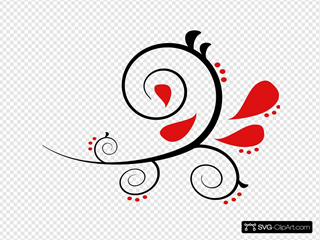 Red And Black Paisley Swirl