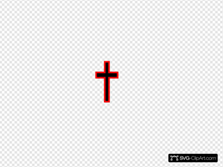 Simple Black Cross With Red Outline