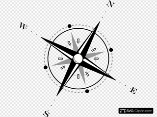 Red Black Compass SVG Clipart
