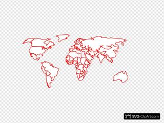 Black Red Outline World Map No Background