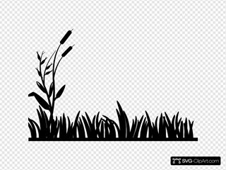 Cattails With Grass Outline