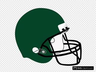 Green Football Helmet White Padding