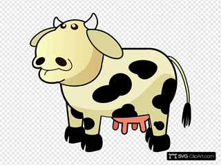 Cream Colored Cow With Black Spots