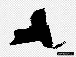 New York Black State Shape