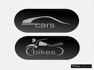Cars Bikes Buttons Clipart