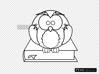 Owl On Book Black And White