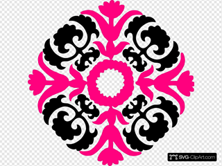Damask Flourish- Pink Black
