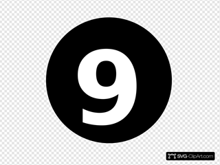 White Numeral  9  Centered Inside Black Circle