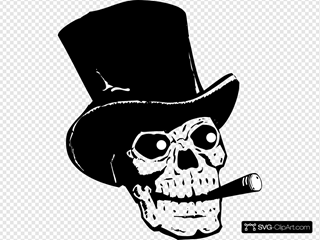 Skull With Top Hat And Ccigar