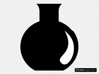 Black Silhoetted Round Research Flask