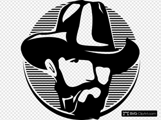 Bearded Cowboy With Mouthpiece Clipart
