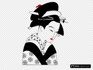 Valessiobrito Japan Woman Black And White Clipart