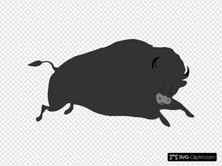 Jumping Black Bison