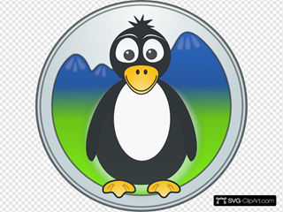 Penguin In The Mountains SVG Clipart