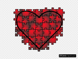 Heart Puzzle With Red Black Gradient
