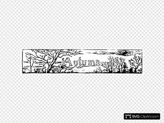 Autumn Banner Lineart