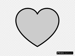 Solid Gray Heart With Black Outline