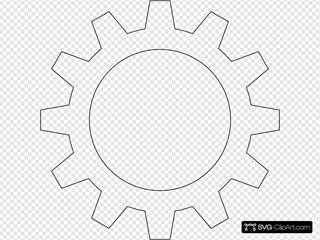 Black Outlined Cog Wheel