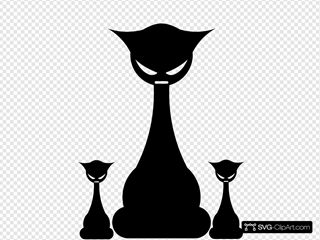 Three Goth Black Cats
