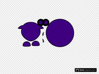 Sheep Body Parts Black Outline Purple Body