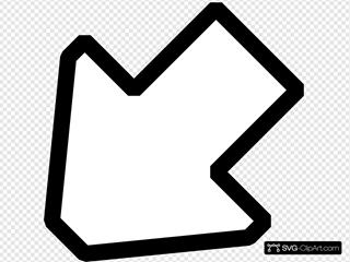 Left Down Outline Arrow