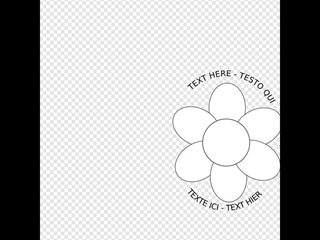 Flower Six Petals Black Outline With Upper And Lower Text