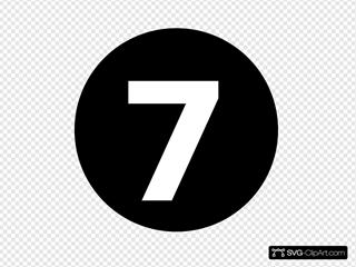 White Numeral  7  Centered Inside Black Circle