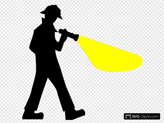 Detective With Flashlight Silhouette