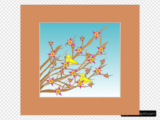 Branches Flowers Birds