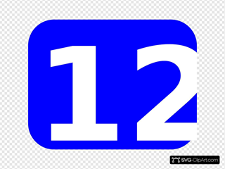 Blue Rounded Rectangle With Number 12