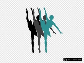 Triple Ballet Dancer Silhouette Blue-white
