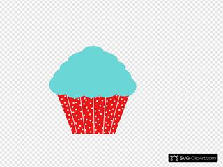 Robin Egg Blue And Red Polkadot Cupcake
