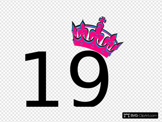 Pink Tilted Tiara And Number 19
