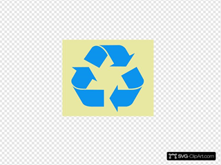 Recycle Symbol Blue On Tan
