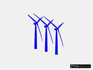 Three Turbines Dark Blue