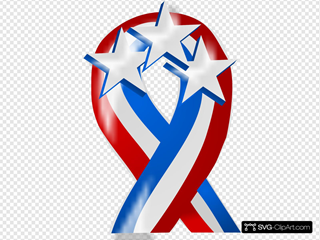 Red White And Blue Ribbon With Stars