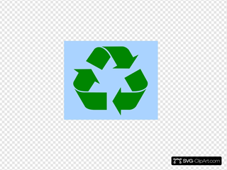 Recycle Symbol Green On Light Blue