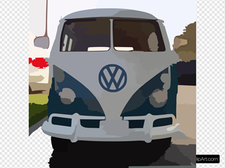 Blue White Vw Bus Straight On SVG Clipart