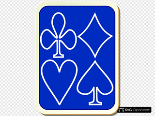 Blue Card Back With Outlined Game Symbols
