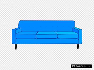 Blue Sofa Clip Art Icon And Svg Svg Clipart