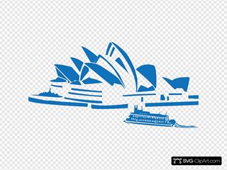 Sydney Opera House Blue Silhouette