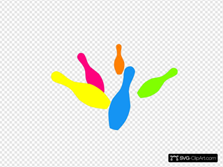 Bowling colorful. Pins clip art icon