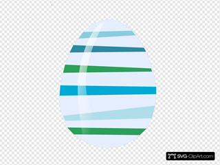Blue Green Striped Egg